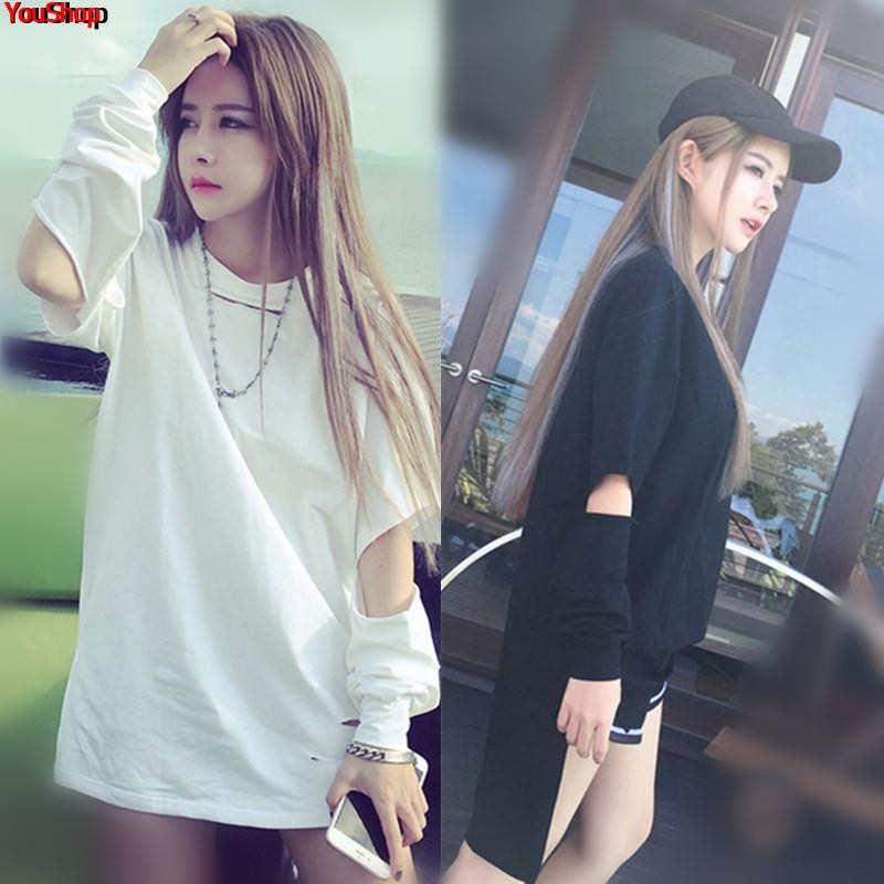 European goods large version 2019 new Korean version of the white T-shirt female long-sleeved early spring clothes ins s