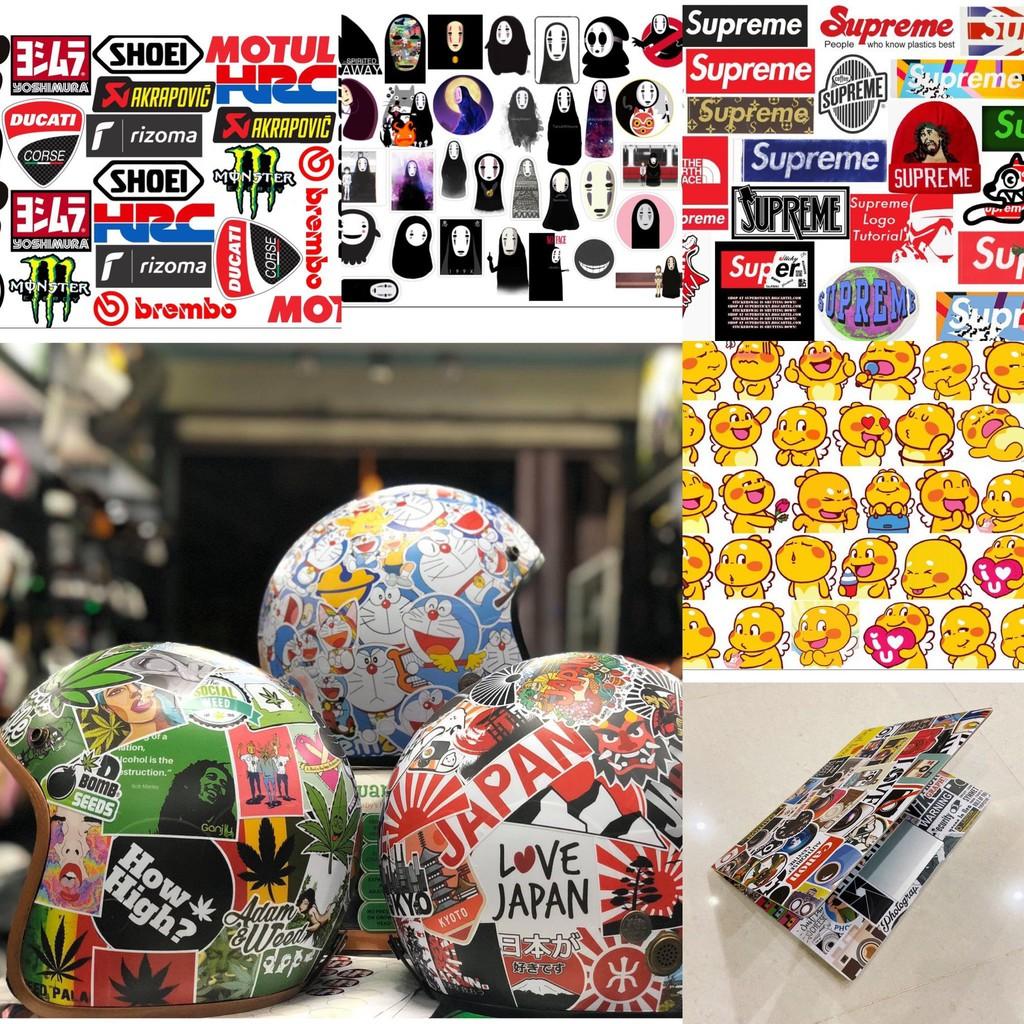 Sticker dán mũ bảo hiểm, Laptop, xe, Vali chống nước tuyệt đối, độ bền 2 năm
