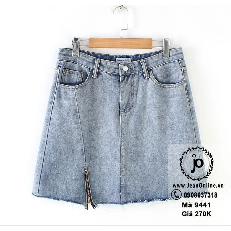 Chân váy jean xẻ dây kéo big size (MS 9441)