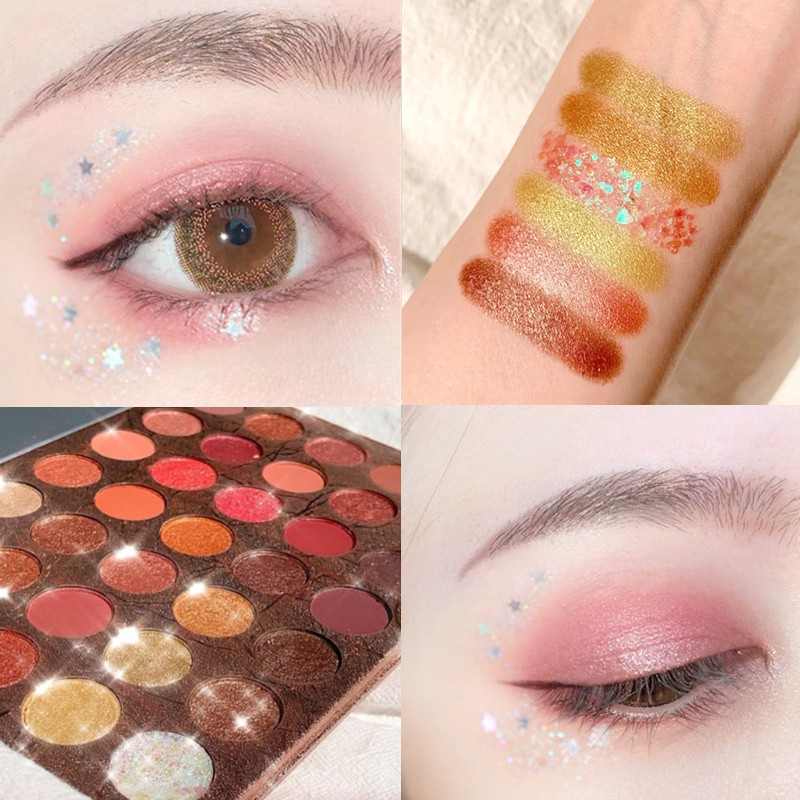 ♣▬Ins web celebrity in same 35 mashed potatoes plate of the wet eye shadow color bead light waterproof easy colored beg