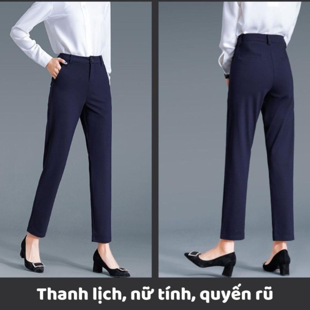 Mặc gì đẹp: Sang trọng với Quần baggy công sở nữ chất vải tuyết mưa co giãn nhẹ cạp cao, quần baggy nữ tây từ 42kg dến 62kg
