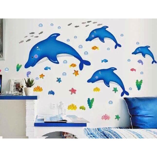Decal dán tường Cá heo xanh