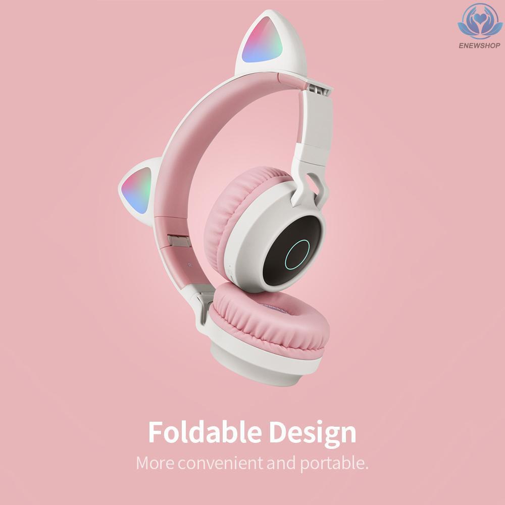【enew】LED Cat Ear Headset RGB 3-Color Lights Noise Cancelling Headphones BT 5.0 Kids Earphone Support TF Card Radio 3.5mm Plug Blue
