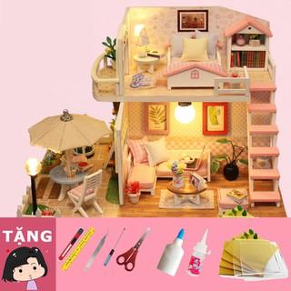 """Mô Hình Nhà Gỗ DIY """"Gác xếp màu hồng"""""""
