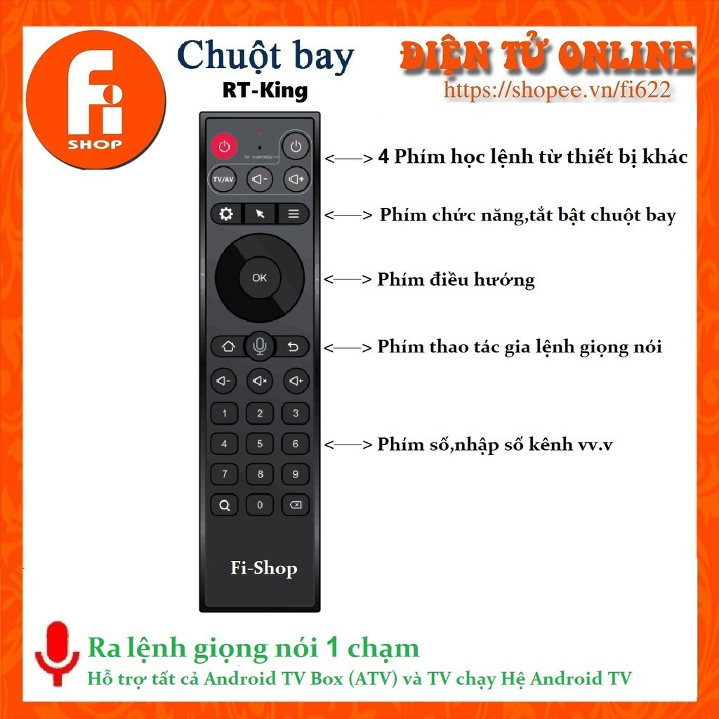 Chuột Bay RT King model TZ20 ,ra lệnh giọng nói 1 chạm ,4 phím học lệnh Enybox
