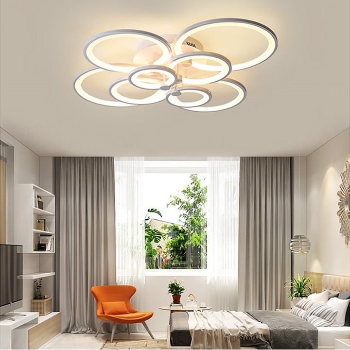 Đèn trần trang trí phòng khách đèn trang trí chung cư 8 cánh tròn đổi 3 màu sáng kèm điều khiển từ xa