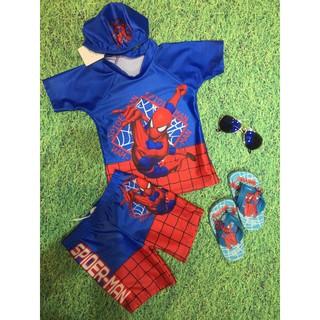 (xả) (thanh lý) Bộ bơi bé trai 3 chi tiết hình nhện spiderman (sz: 90 – 130)