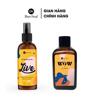 [Mã FMCG5 giảm 5% đơn 250K] Combo Xịt kháng khuẩn LIVE 100ml + Dầu gội đầu khô BareSoul Wow Dry Shampoo 50g