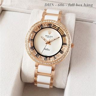 Đồng hồ nữ Rolex cao cấp mặt tròn dây kim loại gắn đá DHN606 Shop404
