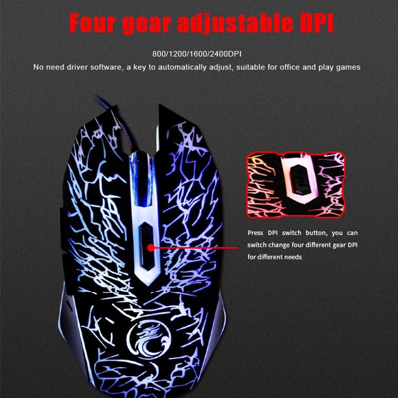 Chuột chơi game IMice X5 có led nhiều màu đầu cắm USB 6 phím bấm