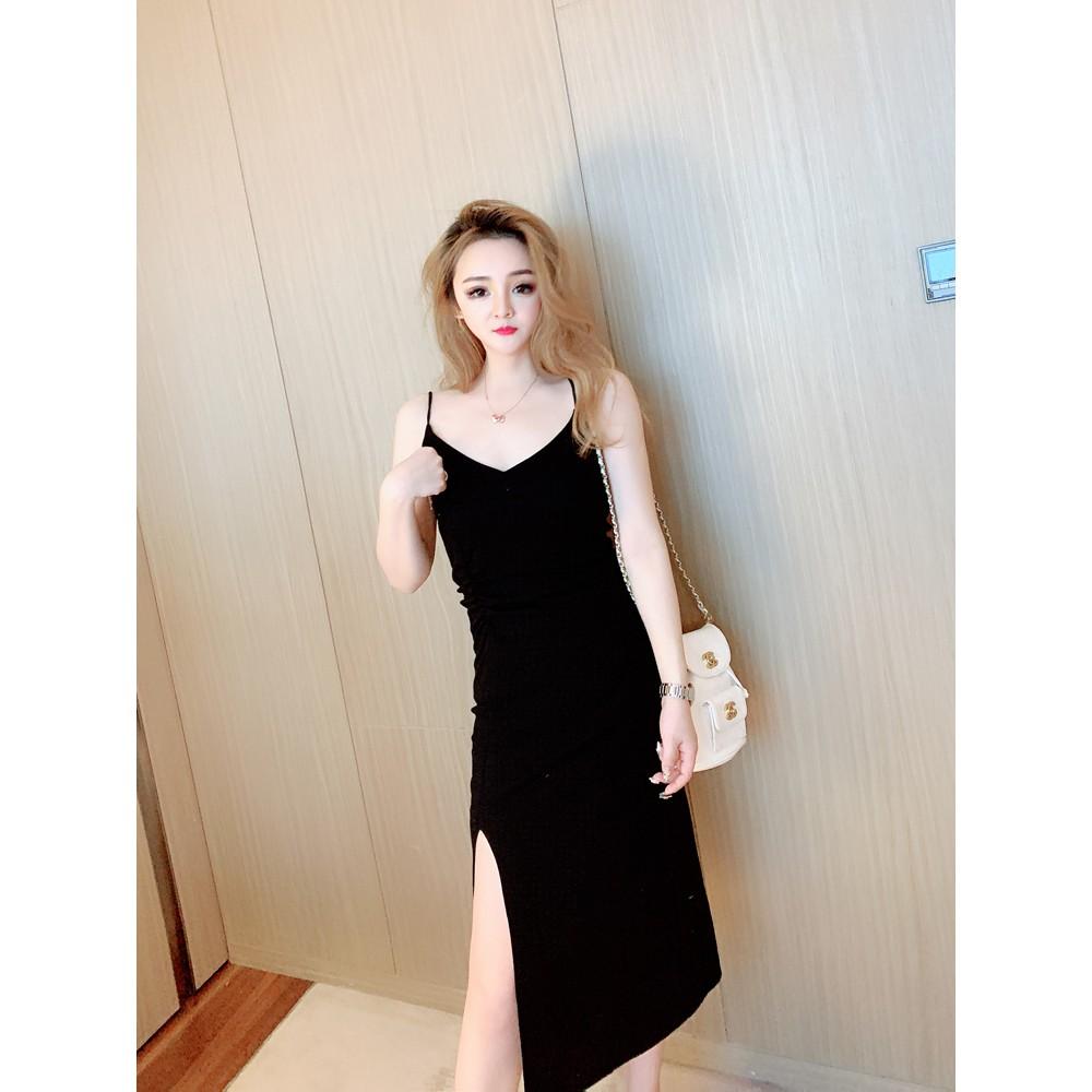 French suspender dress female long section V-neck split temperament long skirt elegant high waist a