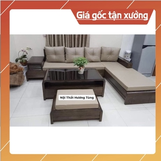 Sofa phòng khách gỗ sồi mỹ 2m4 – phủ màu tối – mẫu hàng đẹp