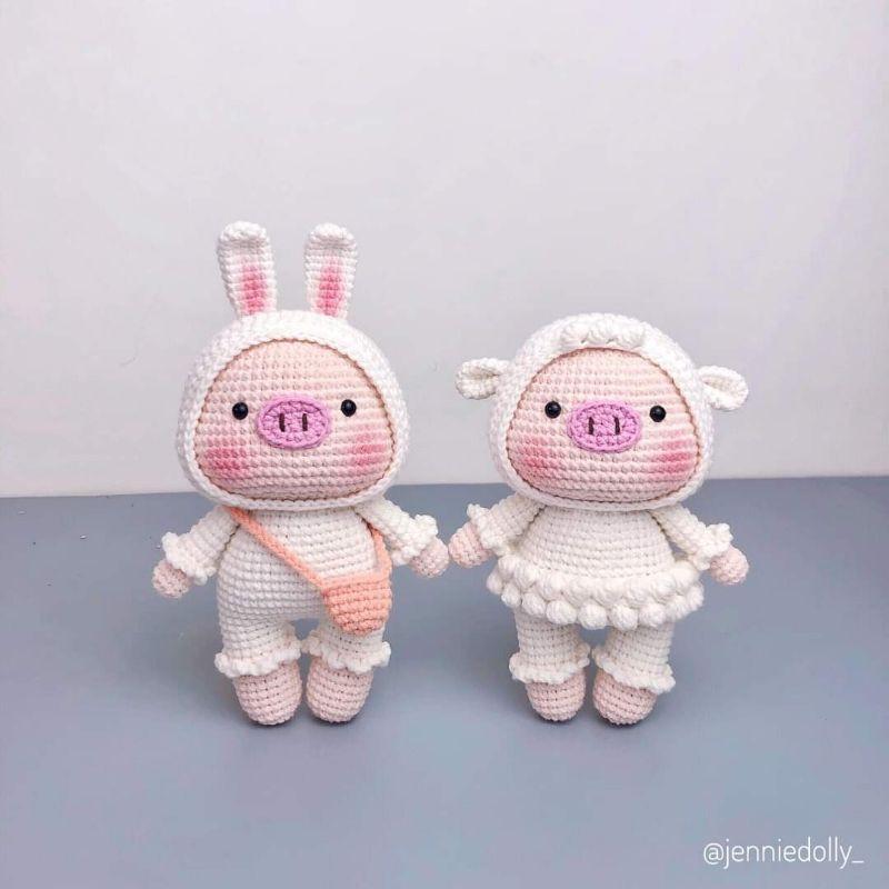 Heo bông xinh xắn thú bông len handmade