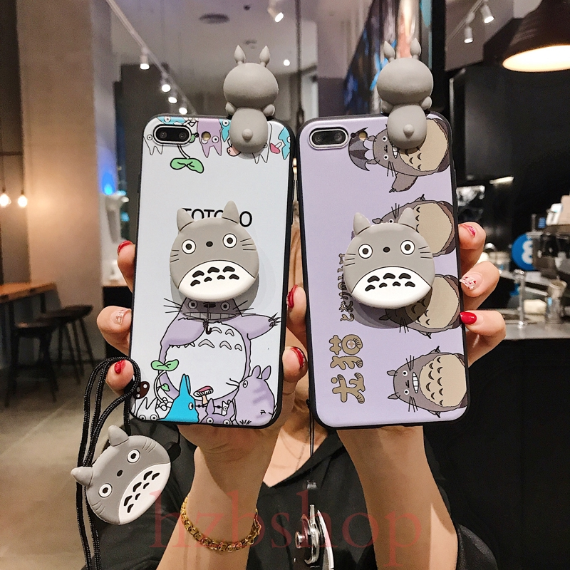 Casing OPPO Reno R9 R9s R11 R11s Plus R15 R17 AX7 Pro chinchilla with lanyard + stand phone case Vỏ điện thoại