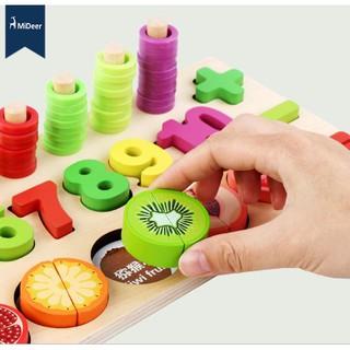 Bộ đồ chơi ghép chữ số, bộ đếm và cắt trái cây
