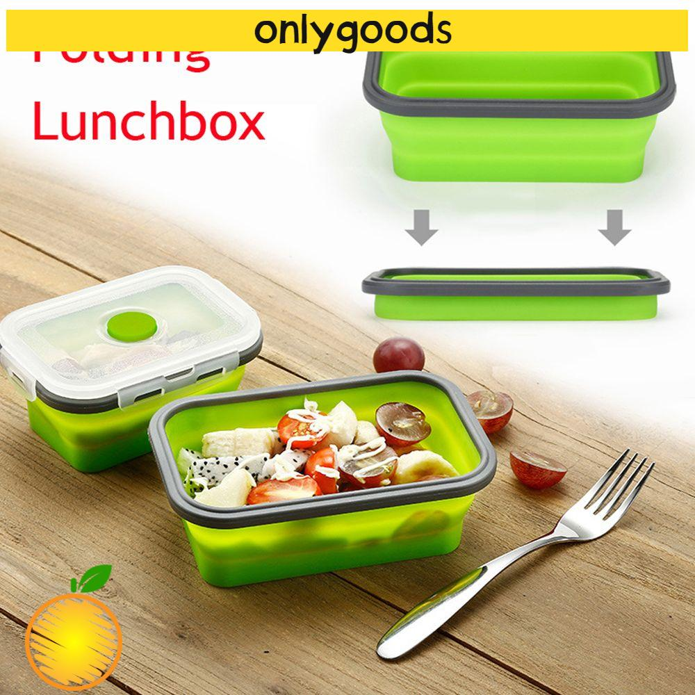 ONLY Portable Folding Lunchbox Household Silicone Food Container Picnic Boxes Storage Kitchen Eco-Friendly Home & Living Collapsible Bowl/Multicolor