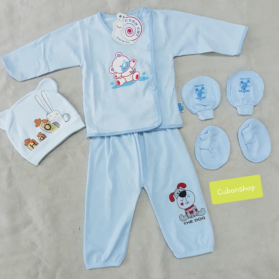 Set đồ sơ sinh 5 chi tiết cotton cho bé( quần áo- BTC