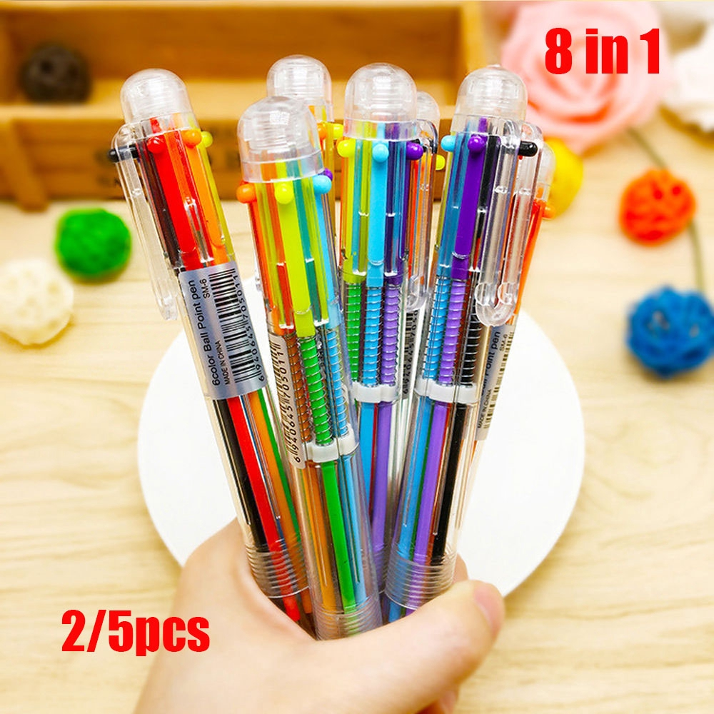 2/5Pcs Stationery Signature Transparent Chunky Multi-color 8 in 1 Color