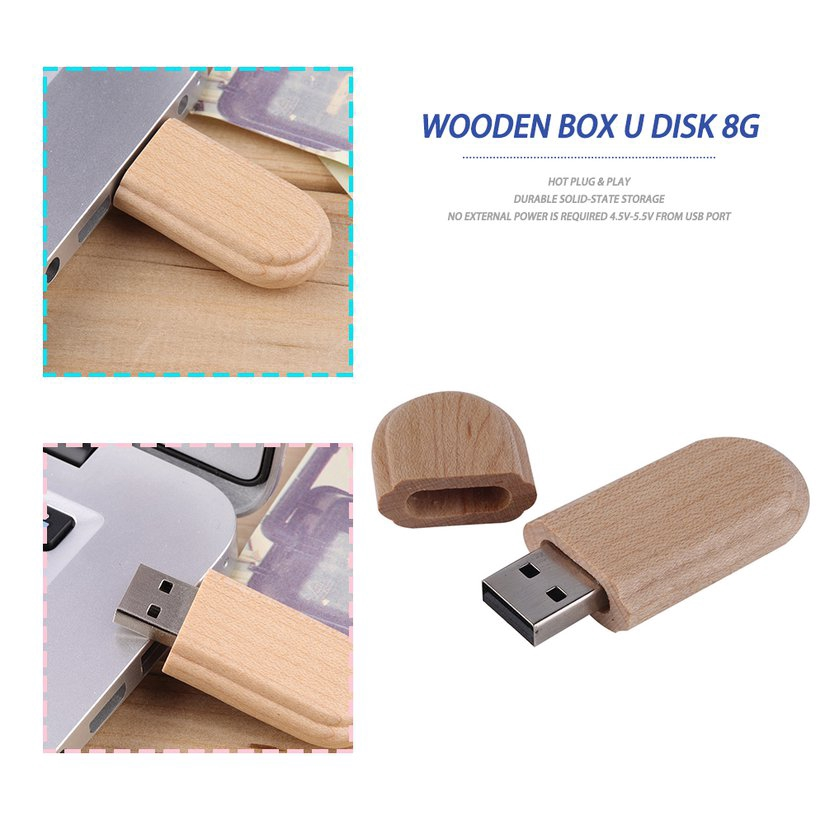 8.15【HOT】Durable Wooden Box USB 2.0 Flash Memory Stick Pen Thumb Drive U Disk 8GB