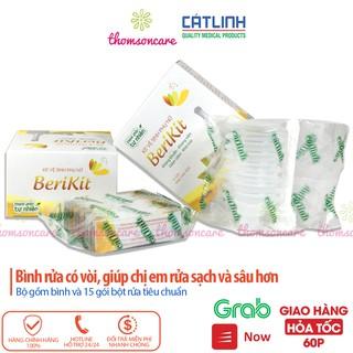 Bộ thụt rửa vệ sinh phụ nữ Berikit kèm 15 gói muối - dung dịch vệ sinh phụ khoa rửa sâu - của dược Cát Linh 1