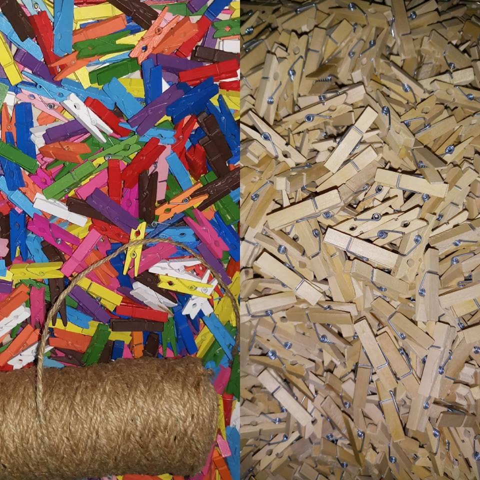 Túi 50 kẹp gỗ treo ảnh 35mm tặng kèm 5m dây treo