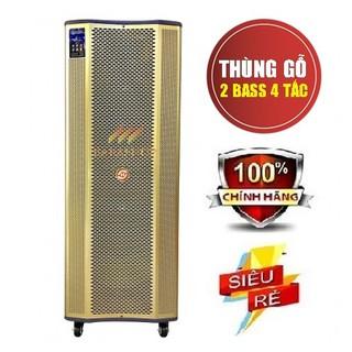 Loa karaoke di động Hoxen L-288, Loa kéo thùng gỗ 4 tấc đôi hát karaoke ngoài trời công suất lớn + Tặng 2 micro