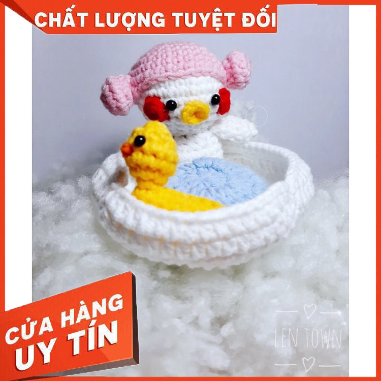 HÀNG CAO CẤP – Bộ Vịt Bể Bơi móc len handmade quà tặng an toàn ý nghĩa cho bé, người thân yêu dịp năm mới, sinh nhật, g