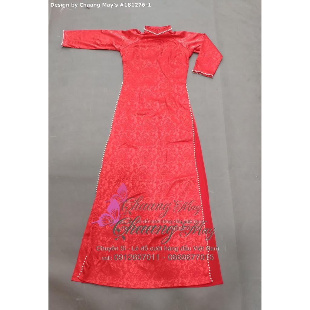 Áo dài gấm trắng_Chaang_May sẵn Áo dài 4 tà truyền thống, vải áo dài cưới gấm cô dâu