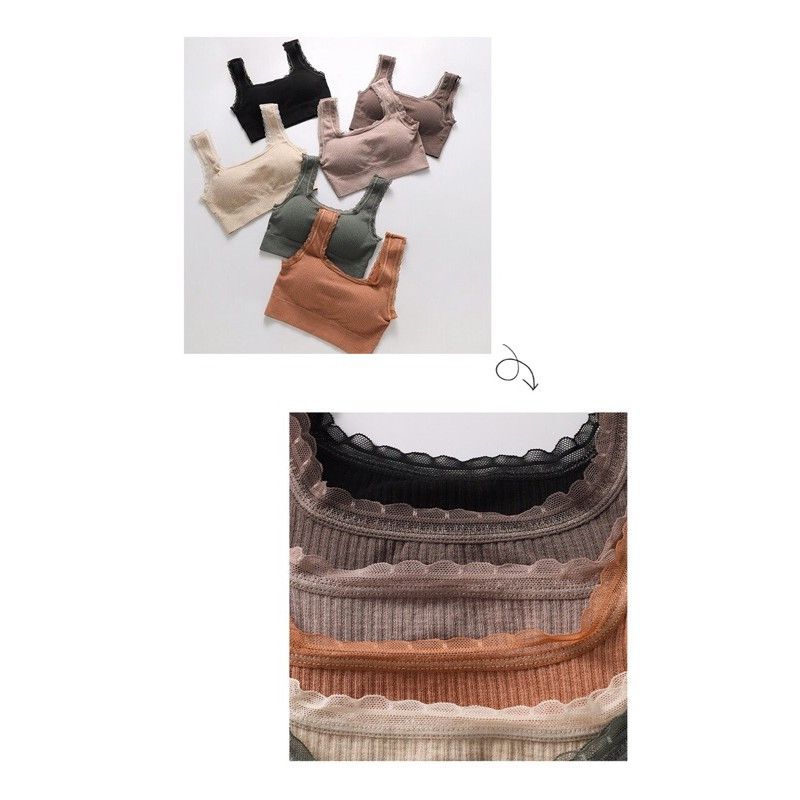 Mặc gì đẹp: Gợi cảm với Áo bra nữ cổ vuông hở lưng chữ U hai dây ren dễ thương freesize 37-55kg - Áo croptop viền ren mút ngực