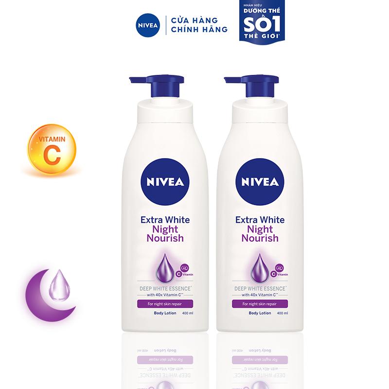 Bộ đôi Sữa dưỡng thể giúp săn da, dưỡng trắng Nivea ban đêm (400ml/chai) – 88126