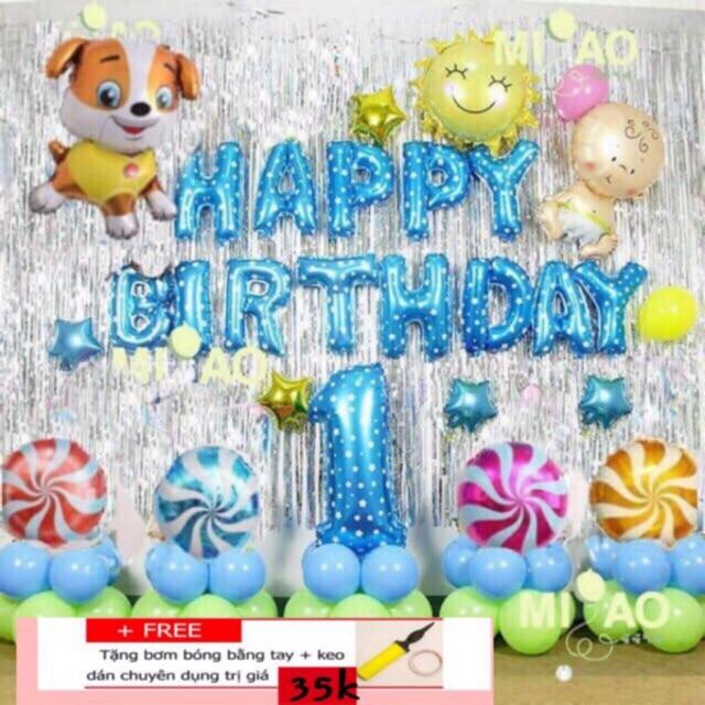 Set trang trí sinh nhật chủ đề năm chó/cún (đủ phụ kiện)