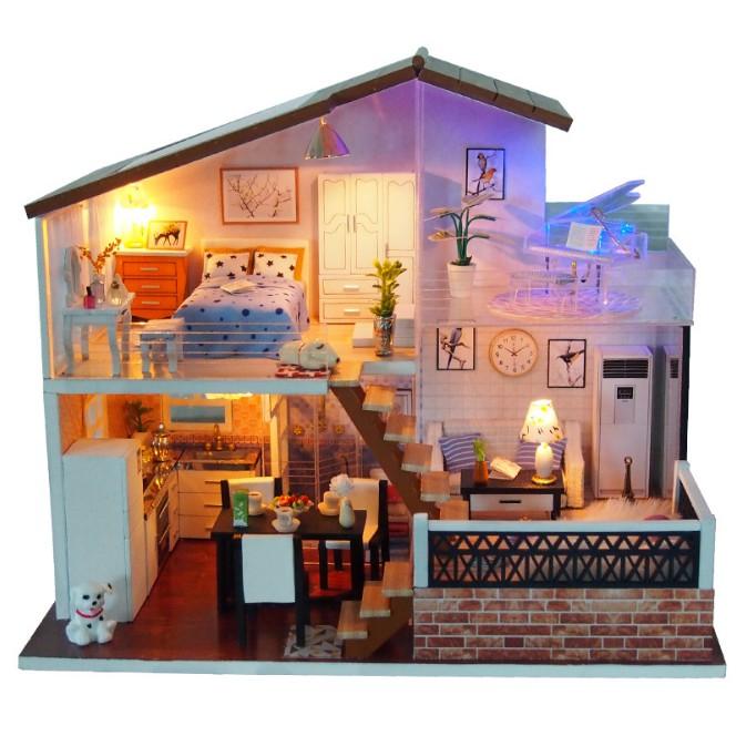 Mô hình nhà búp bê gỗ DIY - Under the Sun shining (có đủ mica kèm theo)