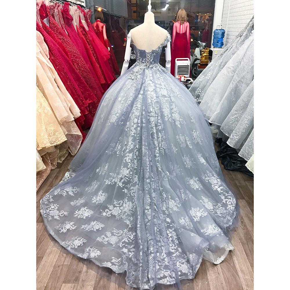 áo cưới dòng luxury kiểu tùng búp bê đuôi lê màu xám ACTL0001