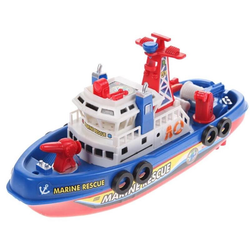 High Speed Music Light Electric Marine Fire Fighting Model Boat Kid Child Toy