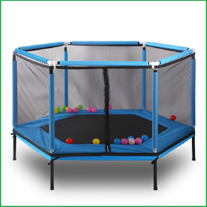 re0588Lều bóng cho bé – Nhà nhún lò xo lục giác có lan can 157x157x80 – Lều nhún lò xo – Nhà chơi bóng