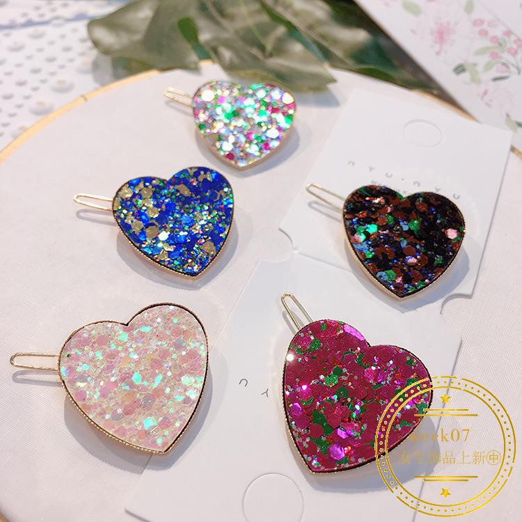847 color peach South Korea new sequins love heart heart hairpin heart-shaped si
