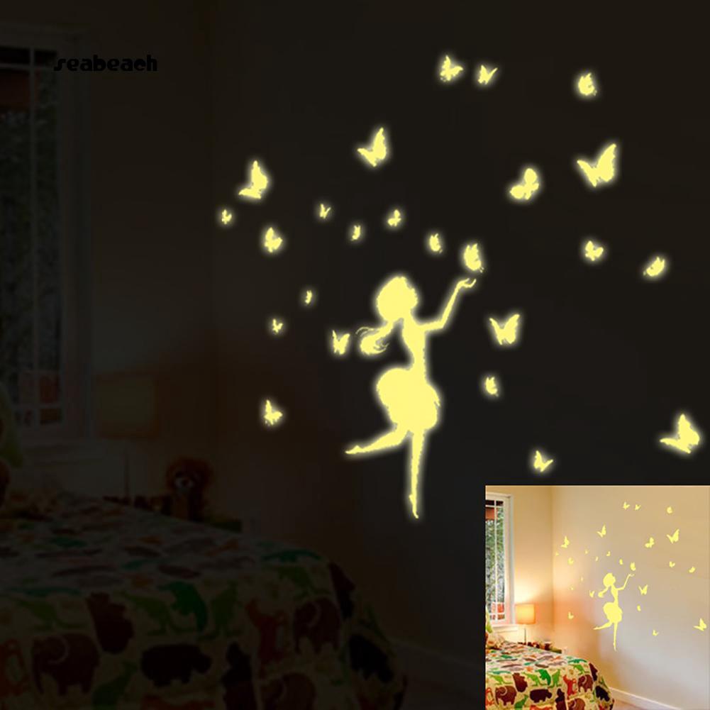( Shop Amart ) Sticker dán tường PVC hình bươm bướm phát sáng trong đêm