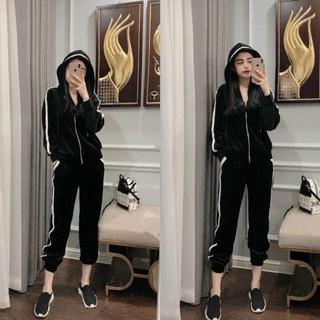 Yêu ThíchS608 Bộ nhung, set quần áo nhung chạy viền, Áo khoác có mũ phối quần jogger cá tính