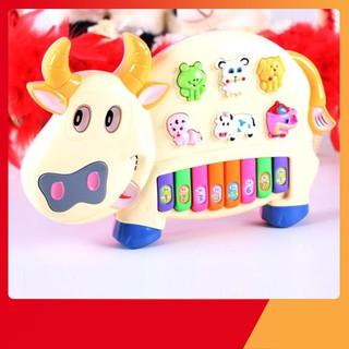 [H-VN] Đồ chơi đàn piano hình chú bò sữa cho bé xanh Giảm Giá