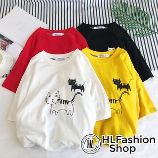 Áo thun tay lỡ form rộng 2 chú mèo ngây ngô, áo phông form rộng size HLFashion thumbnail