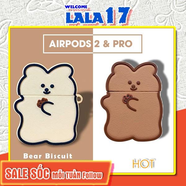 Vỏ Ốp Case Airpod Airpods bảo vệ bao đựng tai nghe không dây bluetooth Pro/2/i12/tws Bánh Gấu Bear chống va đập - Lala17