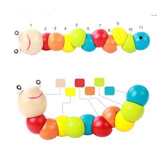 [HOT] Đồ chơi con sâu gỗ uốn dẻo nhiều màu sắc đáng yêu cho bé – Toca Toys