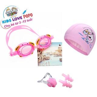 Kính bơi trẻ em kèm mũ bơi bịt tai kẹp mũi POPO bộ kính bơi cho bé chống tia UV nón bơi trẻ em ngăn nước thumbnail