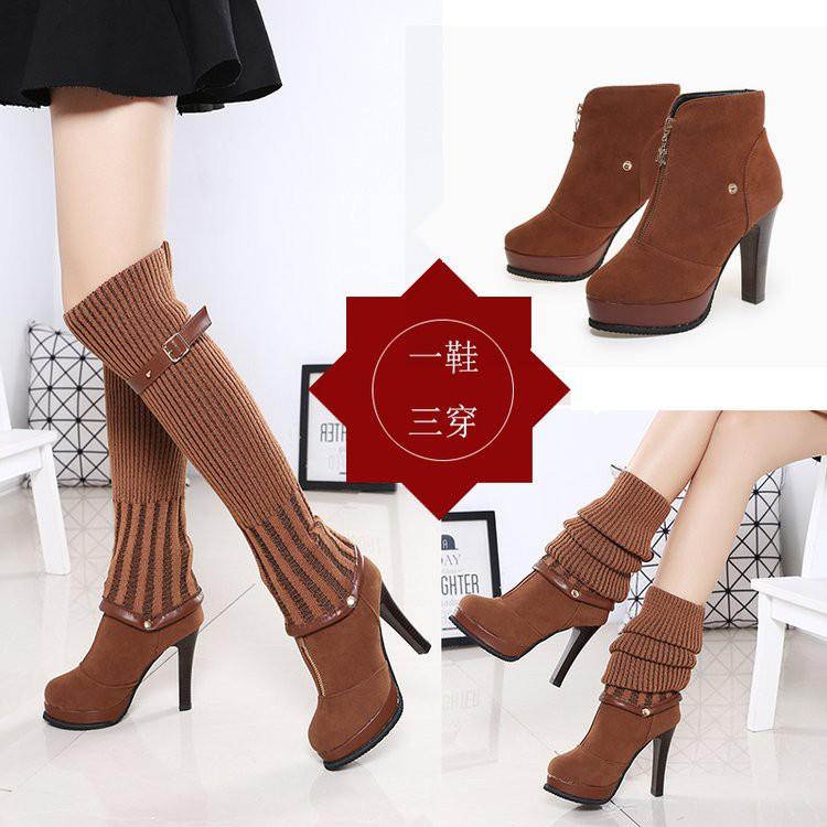 【จัดส่งฟรี】ฤดูใบไม้ร่วง, ฤดูหนาว, รองเท้าผู้หญิงบางของแพลตฟอร์มกันน้ำ, รองเท้าสูง