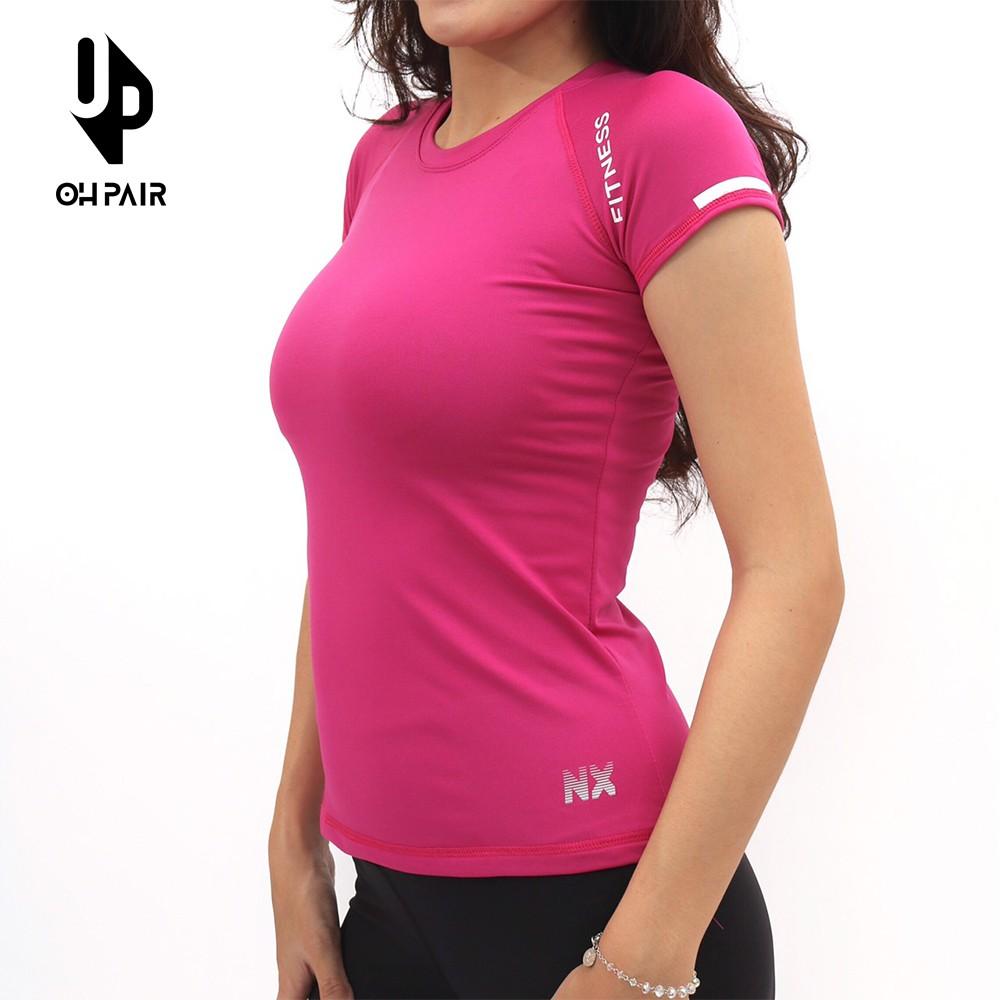 Áo tập gym nữ tay ngắn màu hồng OPY100