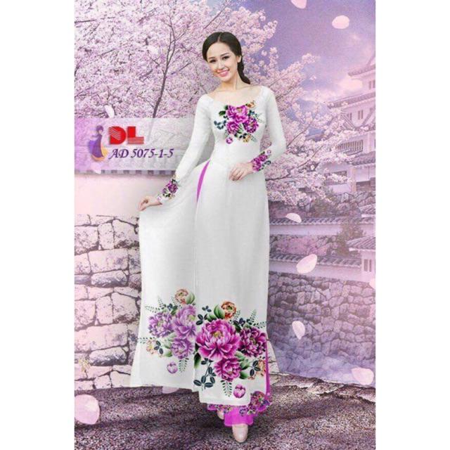 Vải áo dài in hoa cẩm chướng