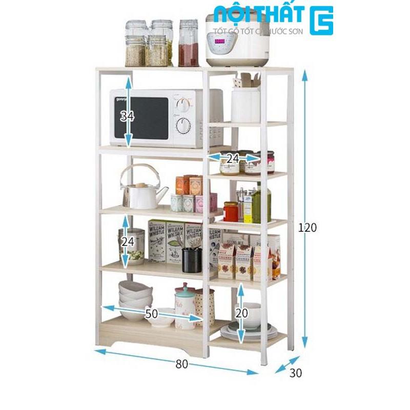 Kệ để lò vi sóng, kệ bếp đa năng để gia vị, đồ bếp 3,4,5 tầng có giá để đồ khung thép sơn tĩnh điện chắc chắn