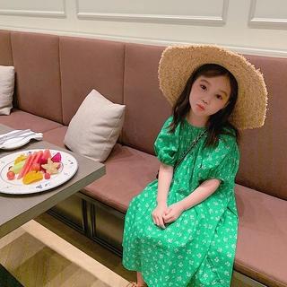 Đầm tay phồng in hình hoa phong cách Hàn Quốc thời trang xinh xắn cho bé gái