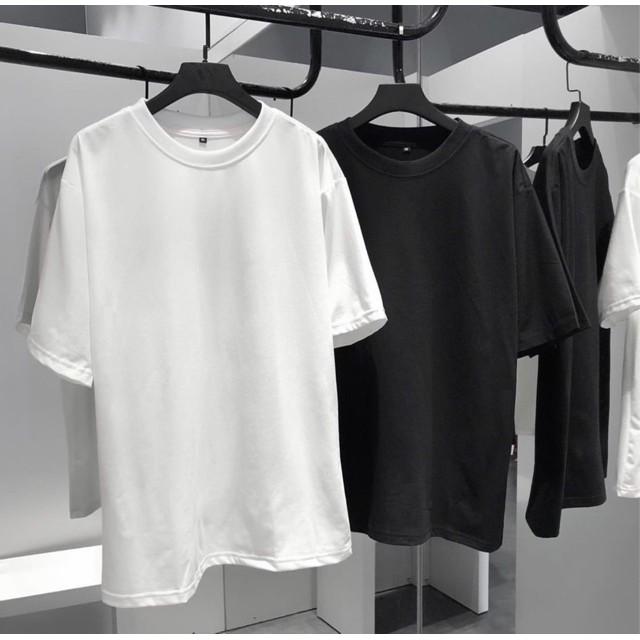 Áo thun TRƠN form rộng tay lỡ cotton TRẮNG ĐEN unisex nam nữ