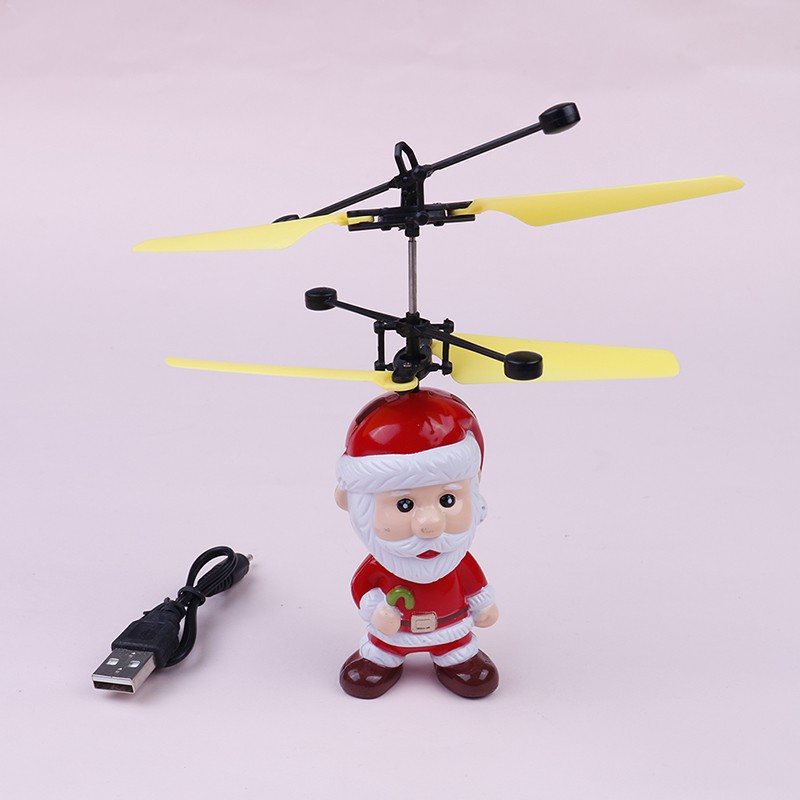 SUN55❤❤Christmas gift santa claus electric infrared sensor flying helicopter kid